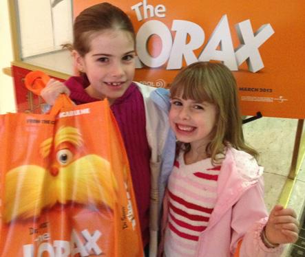 Sarene Marshall's kids at The Lorax screening