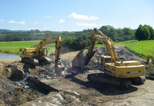 Salmon habitat restoration in construction in Fisher Slough, WA.